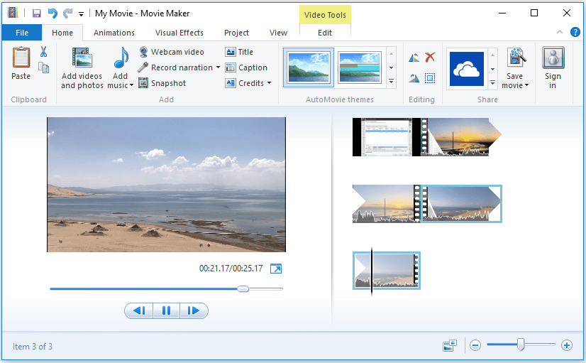 save combined video in Windows Movie Maker