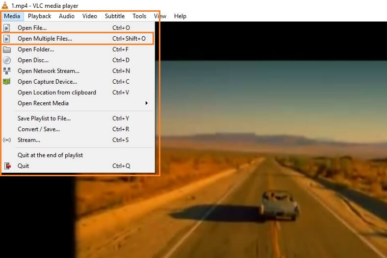 click Open Multiple Files in VLC to combine video files