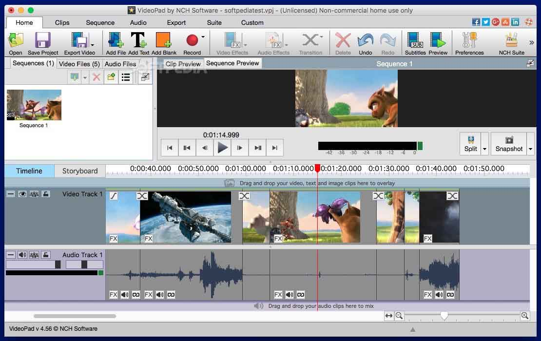 the main interface of VideoPad video editor