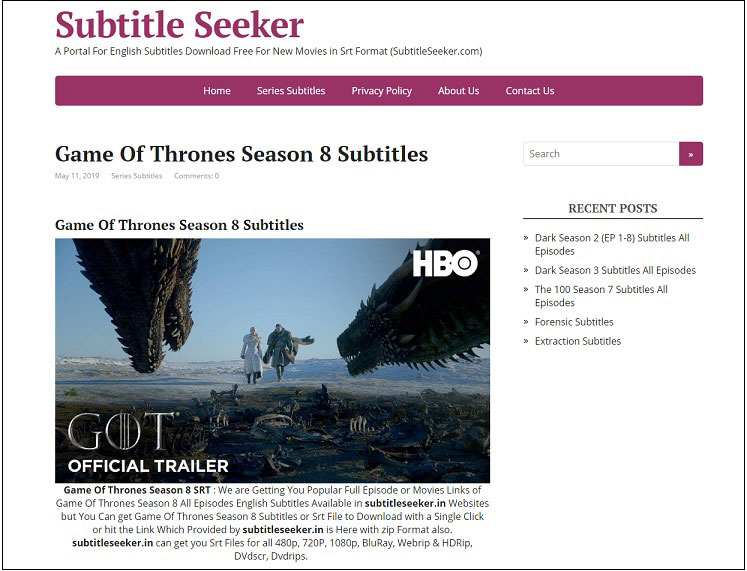 5 Best Places To Download Game Of Thrones Subtitles Free 2020