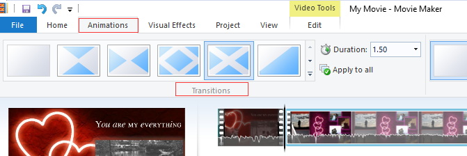 add transitions between clips