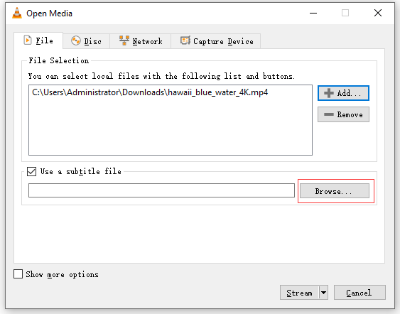 add the subtitles to movie with VLC